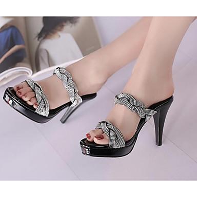 Cuir Talon ouvert Sandales de Femme 06764582 Blanc Chaussures Noir Bout Aiguille Printemps Confort Croûte vY00txBn