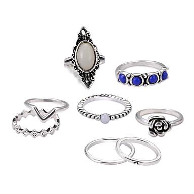 voordelige Dames Sieraden-Dames Ringen Set Ring Set Midiringen Saffier Maansteen 8 stuks Zilver Legering Cirkelvorm Dames Classic Lolita Wa valmistuminen Ceremonie Sieraden Hol Cool Schattig