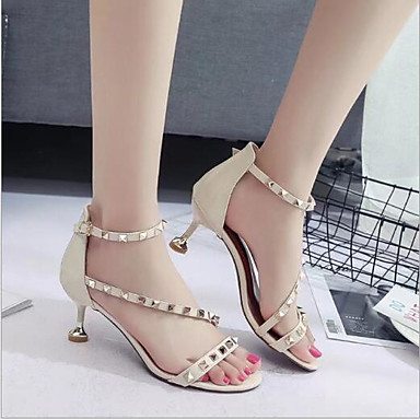 f4d39e74b42 Women s Shoes PU(Polyurethane) Summer Comfort Sandals Kitten Heel Open Toe  Buckle Black   Beige   Pink