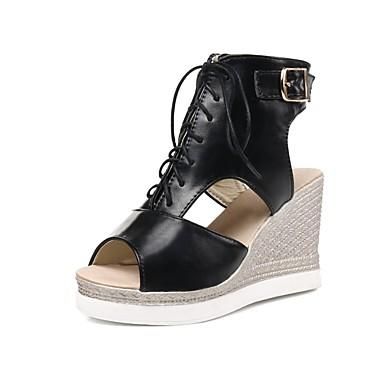Pentru femei Pantofi PU Vară Noutăți Sandale Toc Platformă Pantofi vârf deschis Negru / Migdală