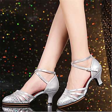 Women's Modern Heel Shoes Polyester Heel Cuban Heel Modern Customizable Dance Shoes Silver / Red / Khaki a07d47