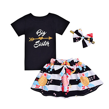 Bebelus Fete Șic Stradă Ieșire Dungi / Floral Manșon scurt Bumbac Set Îmbrăcăminte / Copil