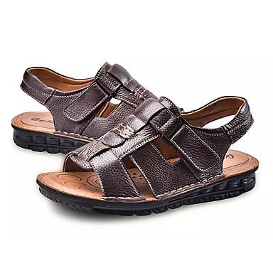 Bărbați Nappa Leather / Piele Vară Confortabili Sandale Negru / Maro