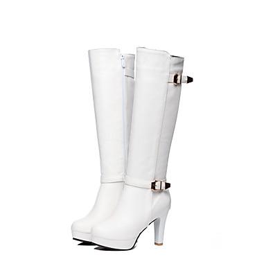 Blanc Bottes Mode Boucle Cône hiver Marron Automne Noir à la Bout Bottes Faux Talon Femme rond Chaussures Cuir 06754587 Bottes wCqSSa
