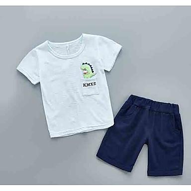 Bebelus Unisex Activ Zilnic Dungi Manșon scurt Regular Poliester Set Îmbrăcăminte Galben 100 / Copil