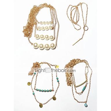 Pentru femei În Straturi lasou Coliere Choker - Vintage, Multistratificat Cool Auriu 42 cm Coliere Bijuterii 4 buc Pentru Cadou, Stradă