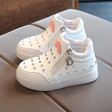 voordelige Babyschoenentjes-Jongens / Meisjes Enkellaarsjes / Oplichtende schoenen PU Laarzen Peuter (9m-4ys) / Little Kids (4-7ys) / Big Kids (7jaar +) Ketting / LED Zwart / Rood / Roze Lente & Herfst
