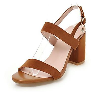 Pentru femei Pantofi PU Primavara vara Balerini Basic Sandale Toc Îndesat Vârf deschis Cataramă Bej / Galben / Roz / Party & Seară
