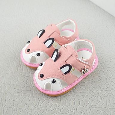 Fete Pantofi Imitație Blană Primavara vara Primii Pași Sandale Plimbare Bandă Magică pentru Copil Albastru / Roz