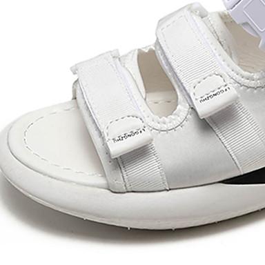 Plano Blanco Tela Punto Tacón Verano Elástica 06767096 Descubierto Sandalias Talón Rosa Negro Mujer Zapatos wqgzTETv