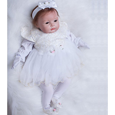 OtardDolls Păpuși Renăscute Bebe Fetiță 22 inch Silicon - natural Artificial Implantation Brown Eyes Lui Kid Fete Jucarii Cadou