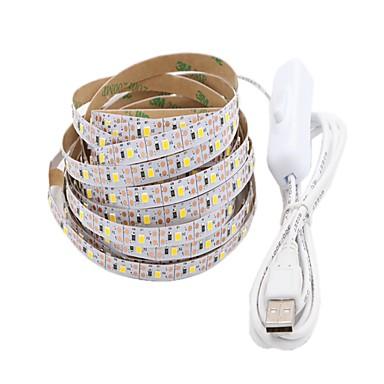 5m Fâșii De Becuri LEd Flexibile 300 LED-uri 2835 SMD Alb Cald / Alb Ce poate fi Tăiat / USB / Decorativ Alimentat USB 1 buc