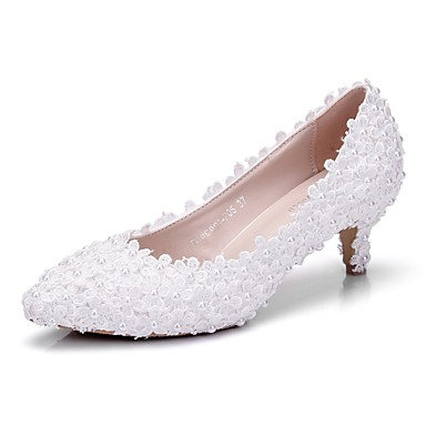 Pentru femei Pantofi PU Primavara vara Balerini Basic pantofi de nunta Toc Jos Vârf ascuțit Perle Alb / Nuntă / Party & Seară