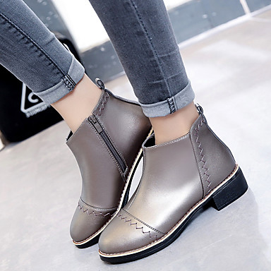 Pentru femei Pantofi PU Iarnă Confortabili Cizme Toc Îndesat Negru / Argintiu