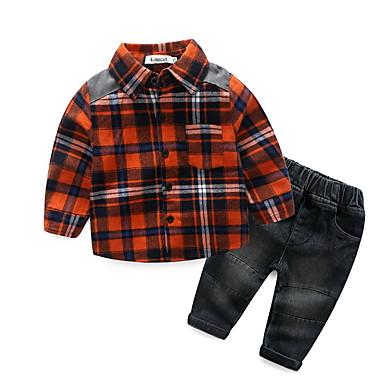 Bebelus Băieți De Bază Imprimeu Manșon Lung Scurt Set Îmbrăcăminte / Copil
