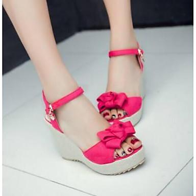 Negro Rojo Sandalias Zapatos 06770519 Verde Ante Verano Tacón Mujer Cuña Confort 8x0AIqggw
