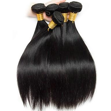 baratos Extensões de Cabelo Natural-6 pacotes Cabelo Brasileiro Liso 8A Cabelo Humano Cabelo Humano Ondulado Extensões de Cabelo Natural 8-28 polegada Côr Natural Tramas de cabelo humano Design Moderno Melhor qualidade Venda imperdível