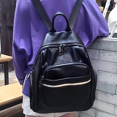 Pentru femei Genți PU rucsac Fermoar Negru