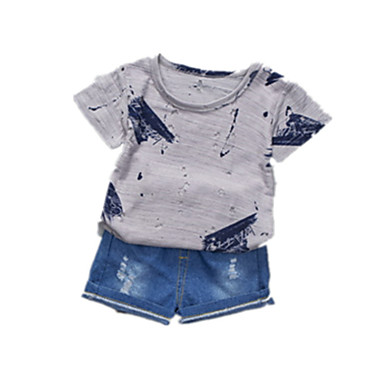 Bebelus Băieți Activ Zilnic Bloc Culoare Manșon scurt Scurt Bumbac / Poliester Set Îmbrăcăminte Alb 100 / Copil