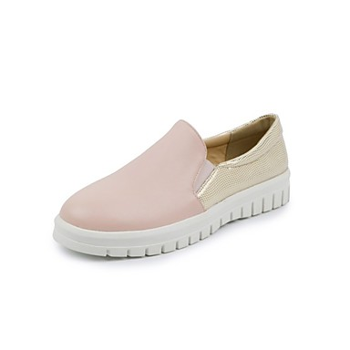 Pentru femei Pantofi PU Primavara vara Confortabili Mocasini & Balerini Toc Drept Vârf rotund Alb / Roz