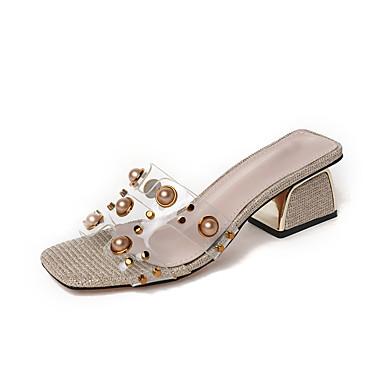 Pentru femei Pantofi PU Vară Pantof cu Berete Sandale Plimbare Blocați călcâiul Vârf pătrat Mărgele / Imitație de Perle Auriu / Gri