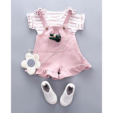 povoljno Kompletići za bebe-Dijete Djevojčice Ulični šik Dnevno Prugasti uzorak Kratkih rukava Regularna Komplet odjeće Crn / Dijete koje je tek prohodalo