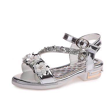 Fete Pantofi PU Vară Confortabili / Pantofi Fata cu Flori Sandale Plimbare Sclipici Strălucitor / Flori / Bandă Magică pentru Copii Auriu