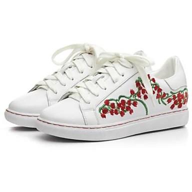 Cuir Talon Bout Blanc fermé Basket Nappa Eté Femme Rouge 06770607 Confort Chaussures Plat Yyw8qWp5