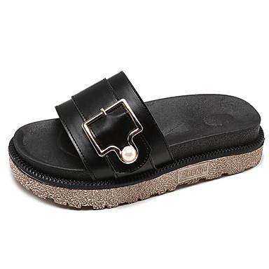 Pentru femei PU Vară Pantof cu Berete Papuci & Flip-flops Toc Drept Negru / Bej