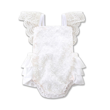 ff8d1ed540c Baby Girls  Active   Basic Daily   Holiday Solid Colored Pure Color   Lace  Trims Short Sleeves Spandex Bodysuit White   Toddler