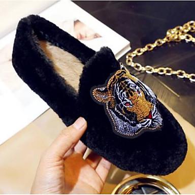 Bout Kaki Confort fermé Talon Fourrure hiver Noir Plat Ballerines Automne Fausse Femme Chaussures 06770178 qwAU7zn