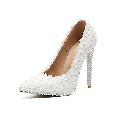 Pentru femei Pantofi PU Primavara vara Balerini Basic pantofi de nunta Toc Stilat Vârf ascuțit Perle / Flori din Satin Alb / Nuntă