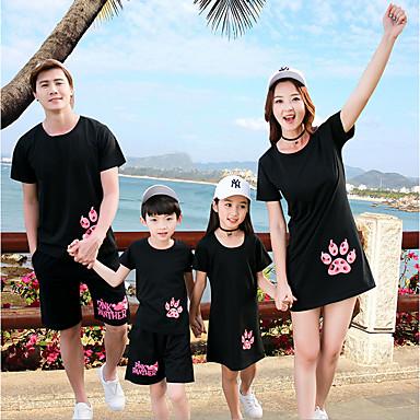 billige Familie-tøjsæt-Family Look Aktiv Strand Dyr Kortærmet Bluse Sort