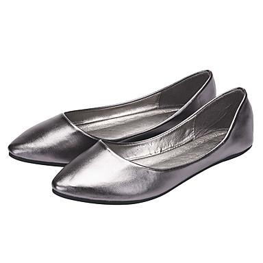Bailarinas Primavera Mujer PU Confort Marrón Gris 06734836 Zapatos Plano verano Tacón Plata f6TUX