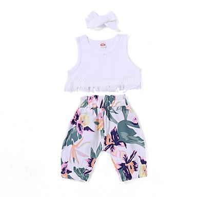Bebelus Fete Activ Ieșire Floral Manșon scurt Set Îmbrăcăminte