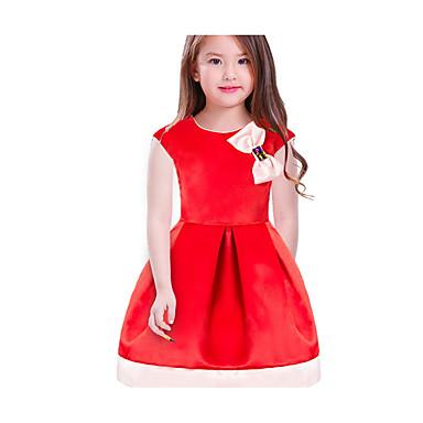 baratos Vestidos para Meninas-Infantil Para Meninas Básico Diário Escola Sólido Estampa Colorida Laço Sem Manga Altura dos Joelhos Vestido Vermelho / Algodão
