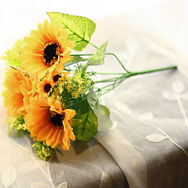 Artificial Flowers 1 Branch Classic Rustic Sunflowers Tabletop Flower