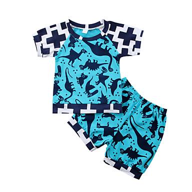 Bebelus Băieți Activ / De Bază Sport Geometric Imprimeu Manșon scurt Bumbac Set Îmbrăcăminte / Copil