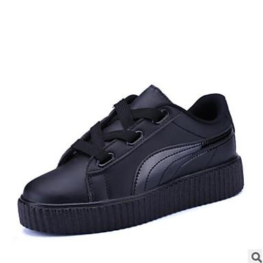 Plano Mujer Zapatos cerrada Blanco PU Negro Zapatillas 06764880 deporte de Tacón Punta Primavera Confort Otoño CZqpzCU