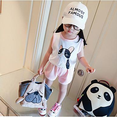 Bebelus Fete Activ Imprimeu Fără manșon Bumbac Set Îmbrăcăminte