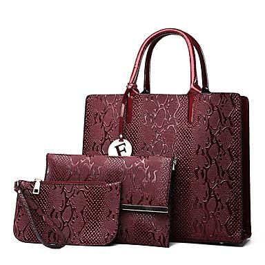 Kadın's Düğme / Fermuar Çanta Setleri Çanta Setleri PU Deri 3 Adet Çanta Seti Siyah / Kahverengi / Şarap