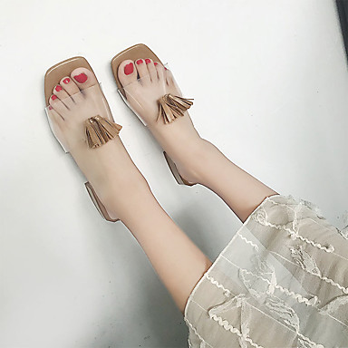 Borla PU Mujer 06728687 Beige Verano Talón Sandalias Zapatos Cuadrado Negro Tacón Caqui Descubierto 885fnq7x