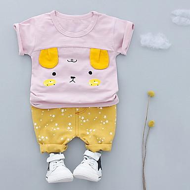 a6f095f72535 Μωρό Κοριτσίστικα Βασικό Καθημερινά Στάμπα Κοντομάνικο Κοντό Πολυεστέρας  Σετ Ρούχων Ανθισμένο Ροζ   Νήπιο