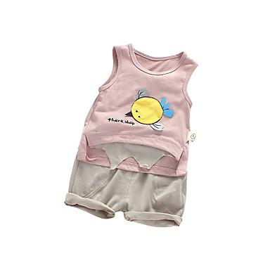 Bebelus Fete Activ Zilnic Imprimeu Fără manșon Regular Bumbac Set Îmbrăcăminte Alb 100 / Copil