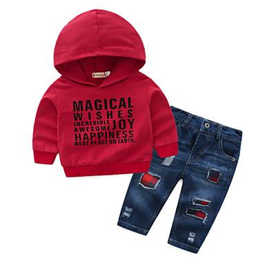 Bebis Pojkar Grundläggande Dagligen Enfärgad Långärmad Normal Polyester  Klädesset Rubinrött   Småbarn 0477873571553