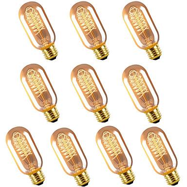 abordables Ampoules électriques-10pcs 40 W E26 / E27 T45 Blanc Chaud 2300 k Rétro / Intensité Réglable / Décorative Ampoule incandescente Edison Vintage 220-240 V