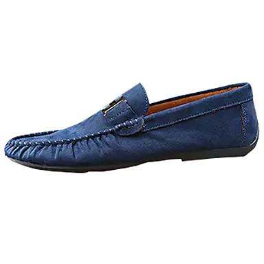 Men's Moccasin Suede Blue Summer Loafers & Slip-Ons Black / Blue Suede / Burgundy 3b38b0