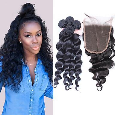 Peruviansk hår Løse bølger Hår Veft Med Lukker 3 pakker med lukking 10-30tommers Hårvever med menneskehår Hot Salg Svart Dame