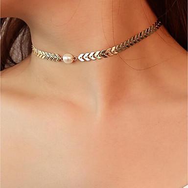 Pentru femei Perle Coliere Choker / Lănțișoare - Imitație de Perle Simplu, Vintage, Modă Draguț, Cool Auriu, Argintiu 38 cm Coliere Bijuterii 1 buc Pentru Party / Seara, Măr