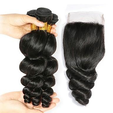 baratos Extensões de Cabelo Natural-3 pacotes com fechamento Cabelo Indiano Ondulado 8A Cabelo Humano Cabelo Humano Ondulado Extensões de Cabelo Natural Trama do cabelo com Encerramento 8-22 polegada Côr Natural Tramas de cabelo humano